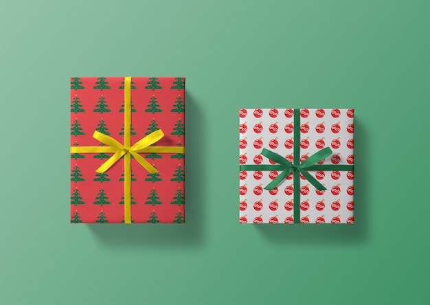 Mockups de caixa de presente de natal