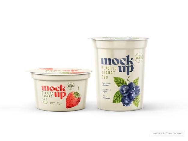 Mockups de copos de iogurte