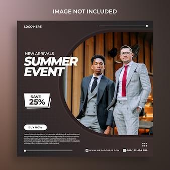 Moda evento de verão mídia social post banner psd