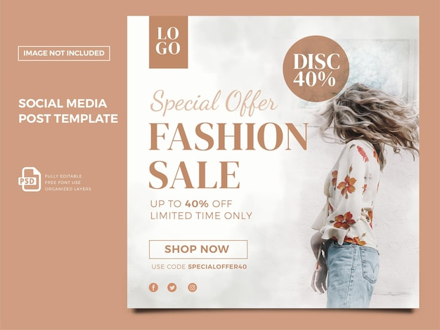 Moda feminina mídia social pós-premium psd