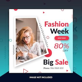 Moda instagram post, banner quadrado ou modelo de panfleto