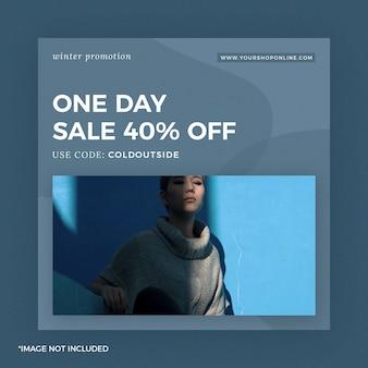 Moda instagram post banner um dia venda azul