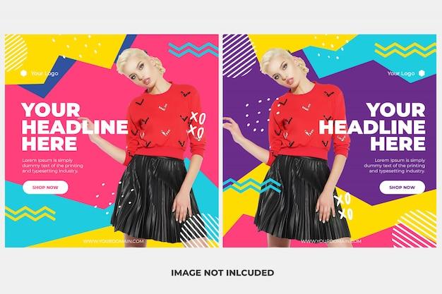 Moda instagram post modelo banner conjunto