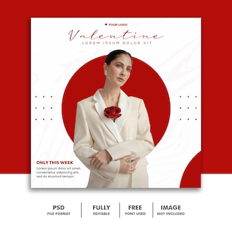 Moda valentine banner mídia social post instagram amor