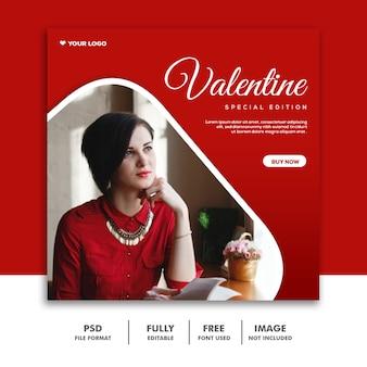 Moda valentine banner mídia social post instagram vermelho edição especial
