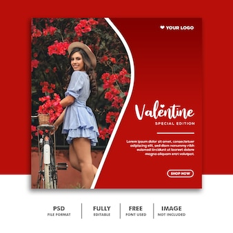 Moda valentine banner post mídia social instagram vermelho especial