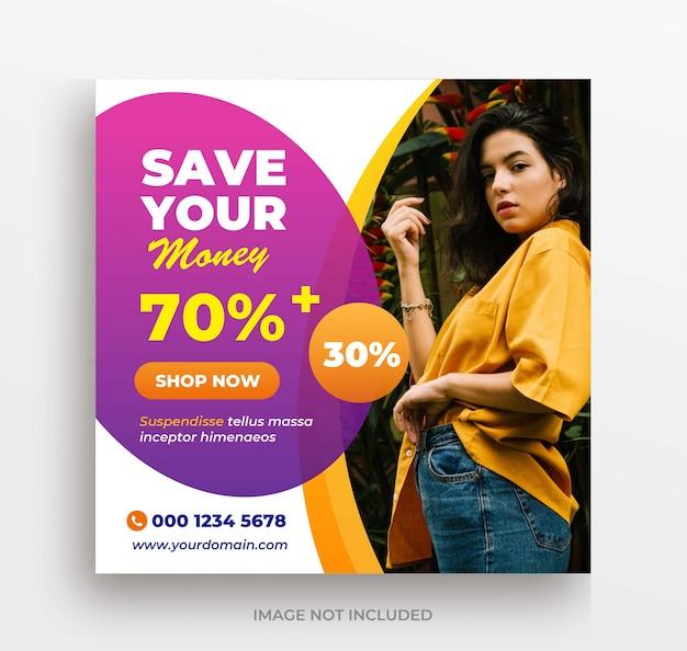 Moda venda grande banner instagram post ou modelo de folheto quadrado