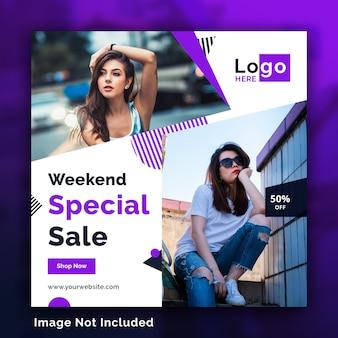 Moda venda mídia social quadrados banners modelo psd