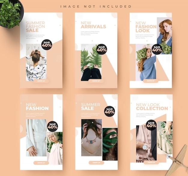 Moda verão mídias sociais instagram stories moda venda banner modelo de design