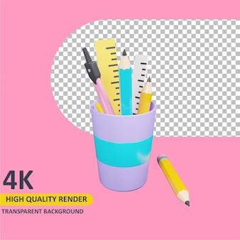 Modelagem 3d objeto render papelaria