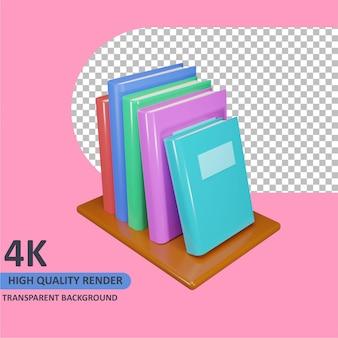 Modelagem de livros de renderização de objetos 3d alinhados na estante