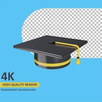 Modelagem de objeto 3d render chapéu de formatura