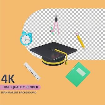 Modelagem de objeto 3d render chapéus de formatura e material escolar