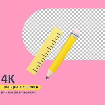 Modelagem de objeto 3d render lápis e régua