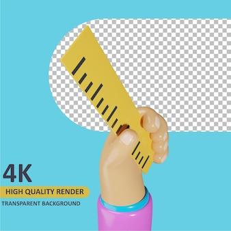 Modelagem de objeto 3d render mão segurando a régua