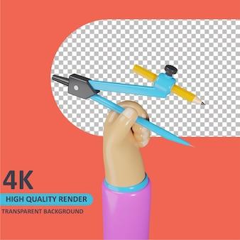 Modelagem de objeto 3d render mão segurando bússola