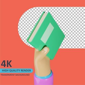 Modelagem de objeto 3d render mão segurando livro