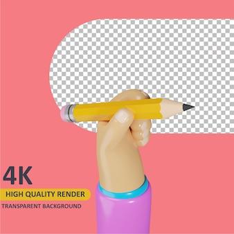 Modelagem de objeto 3d render mão segurando um lápis