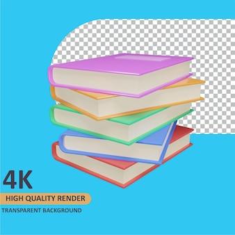Modelagem de objeto 3d render pilha de livros