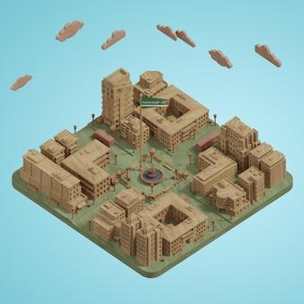 Modelo 3d de cidades em miniatura
