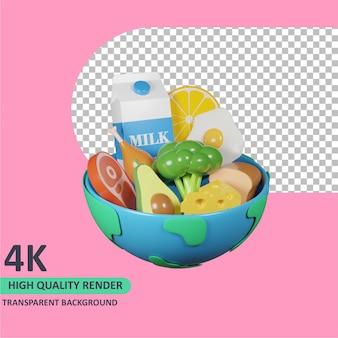 Modelo 3d de renderização de tigela de terra e vários alimentos no dia mundial da comida