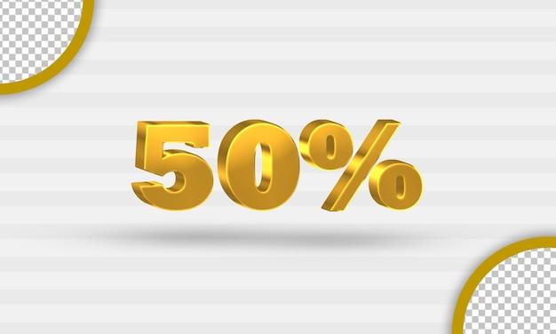 Modelo 3d dourado de cinquenta por cento de desconto