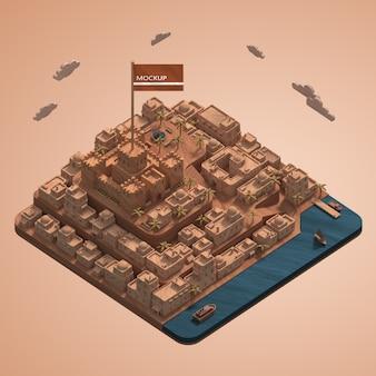 Modelo 3d em miniatura de maquete de edifícios de cidades