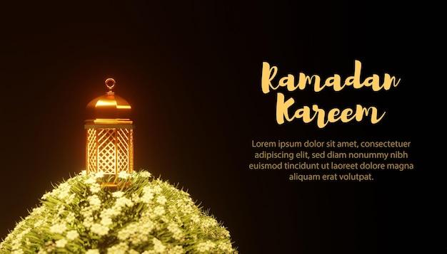 Modelo 3d lâmpada e flores ramadan kareem