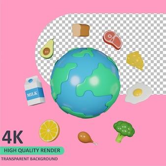 Modelo 3d que representa a terra e vários alimentos ao seu redor, dia mundial da comida