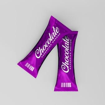 Modelo 3d realista para embalagem de chocolate brilhante