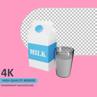 Modelo 3d renderizando uma caixa de leite e um copo de leite