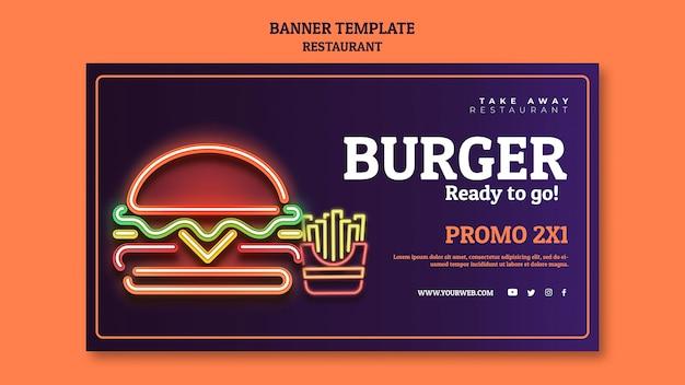 Modelo abstrato de banner de restaurante