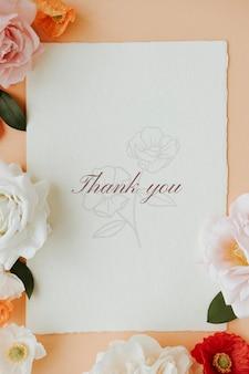 Modelo botânico de cartão de agradecimento