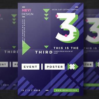 Modelo colorido do cartaz do partido
