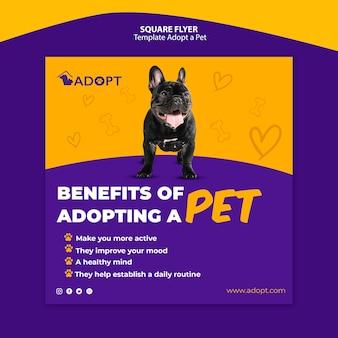 Modelo com adotar um panfleto para animais de estimação