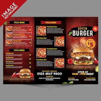 Modelo com três dobras do menu burger fora