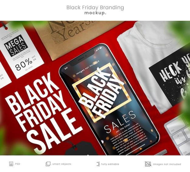 Modelo completo da marca black friday com smartphone e camiseta