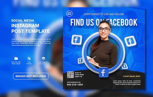Modelo criativo de postagem no instagram para promoção de canal no facebook