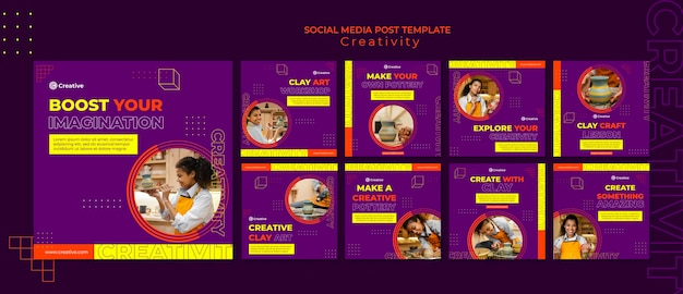 Modelo criativo e imaginativo de pós-design de mídia social insta