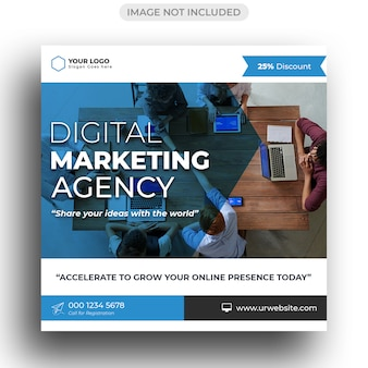 Modelo da agência de marketing digital para publicação em mídia social