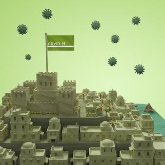 Modelo da cidade de coronavírus