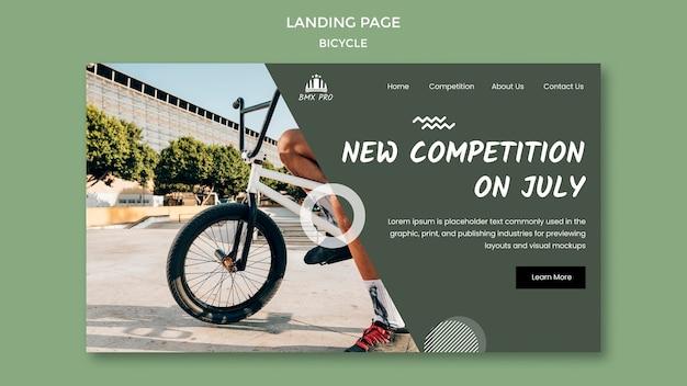 Modelo da web da página de destino de bicicleta