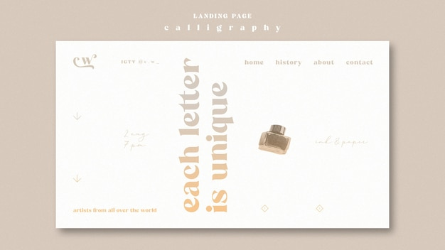 Modelo da web da página de destino de caligrafia