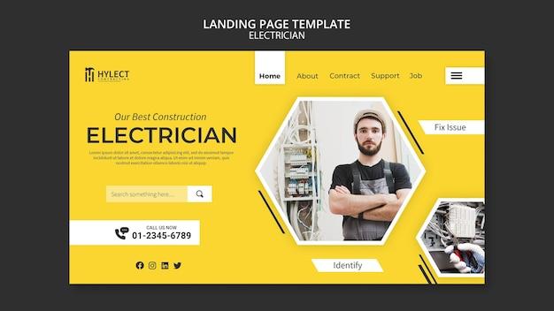 Modelo da web da página de destino de eletricista