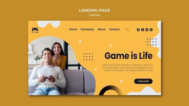 Modelo da web da página de destino de jogos