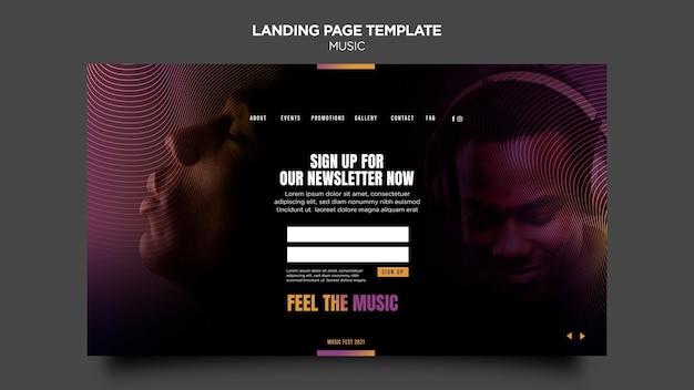 Modelo da web da página de destino de música
