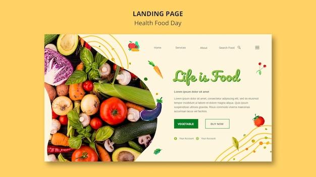 Modelo da web da página de destino do dia de alimentos saudáveis