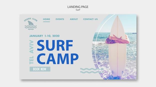Modelo da web da página de destino do surf