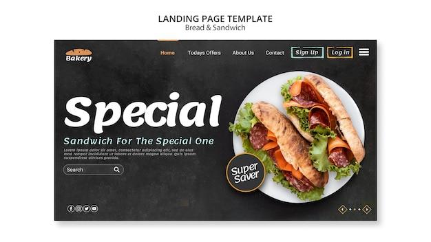 Modelo da web da página de destino pão e sanduíche