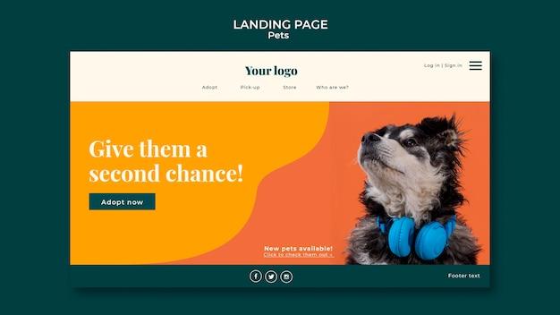 Modelo da web da página de destino para animais de estimação